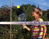 Australia, Victoria, Child Playing Tennis