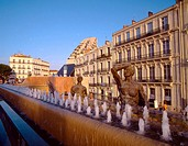 France, Languedoc, Montpellier, Place de la Comédie, fountain