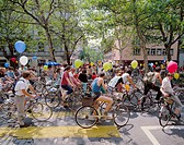 10135755, demonstration, environment, bicycle, demo, bicycle demo, protest, remonstrance, aerial balloons, town, city, Zurich, S