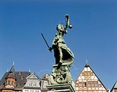 Germany, Hesse, Frankfurt on the Main,  Roman mountain, Justice wells, detail,  Statue Europe, Central Europe, city, district, old town, medieval, sig...