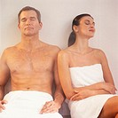 Couple Relaxing in Steam Room