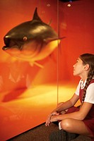 Young Girl Examining Museum Exhibit
