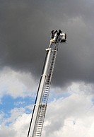 Firemen on the ladder in training