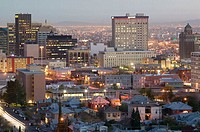 Downtown View from Scenic Drive. El Paso. Texas, USA.