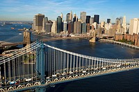 Aerial view of Manhattan and Brooklyn bridge. New York city. USA