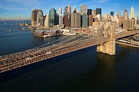 Aerial view of Brooklyn bridge. New York city. USA