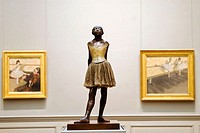 Degas' 'Little Ballerina' sculpture and two other paintings, Metropolitan Museum of Art, NYC. USA