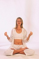 Woman in Padmasana, or Lotus Posture
