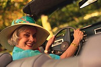 Middle-Aged Woman Driving