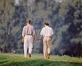 10156839, men, outside, two, meadow, walk, from back, walking, nature