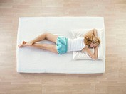 sleeping woman, young, bed, prone position,  from above  Series, 23 years, 20-30 years, single, blond, Top, shorts, leisure time, indoors, at home, li...