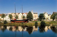 Germany, Lower Saxony, Cuxhaven,  Kaemmererplatz, ship ´Hermine´,  historic Europe, Central Europe, Northern Germany, North sea spa, district, houses,...