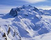 Switzerland, canton Wallis, close to Zermatt,  Monte pink, Dufourspitze, 4634 m  Europe, Walliser Alps, mountains, mountains, highland, mountain lands...