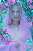 Oleanders, blooms, woman, blond, naked,  Head, upper bodies, silk cloth, covers  20-30 years, gaze camera necklace Perlenkette, Cloth, tulle, rose, ol...
