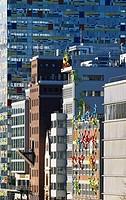 Germany, NRW, Düsseldorf,   Media harbor, Häuserzeile, house facades,  ´Flossis´, Artist Rosalie, Colorium, detail,  skyscrapers, facades, figures, co...