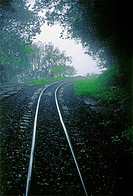 A Toy train railway track leading towards the forest, its journey from Neral to Matheran. Maharashtra, India