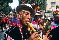 Oruro carnival. Zampoñero. Oruro was a ceremonial centre from prehispanic times. In Paria, the first city in Bolivia founded by Spanish, priest José S...