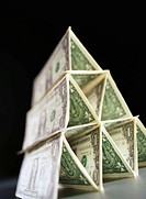 Pyramid of US Dollar Bills