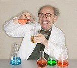 Mad Scientist Mixing Chemicals