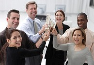 Business Associates Toasting Champagne