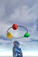 Computer Art Image of Ring of Objects Floating Above Man