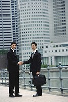 Two businessmen shaking hands, looking at camera, river and buildings in the background