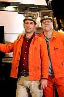 Steelworkers, arm in arm, portrait   Heavy industry, industry, steel industry, metal industry, foundry work, men, two, colleagues, co-workers, occupat...