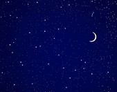 Night sky with crescent moon and stars.