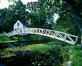 Bridge & mill pond, Somesville, Mount Desert island, Maine, USA.