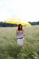 Meadow, woman, young, parasol, Walk  Series, field, grasses, 20-30 years, long-haired, brunette, umbrella, protection, sun protection, heat protection...