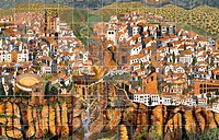 Spain, Andalusia, Ronda, tiles,  paint, map, Puente Nuevo, Tajo canyon  Europe, Southern Europe, Iberian peninsula, city, tiles, tile art, Azulejos, r...