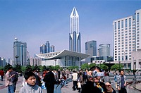 China, Shanghai, Renmin Square, Tourists, Grand theaters, skyscrapers  Asia, Eastern Asia, Renmin Guang Chang, buildings, constructions, opera house, ...