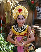 Indonesia, Bali, Legong-Tänzerin,  Movement, smiling, Halbporträt   Little one Sundainseln, island, woman, Balinesin, dancer, folklore clothing, folkl...