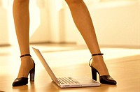 Woman, detail, legs, stilettos,  Floor, laptop,  Series, businesswoman, boss, high-powered career woman, women power, women legs, pump, Slingpumps, se...