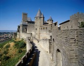 France, Languedoc-Roussillon,  Carcassonne, fortification,  Towers, walls, dusk  Europe, South France, landmarks, castle, fortress, fortification, con...