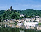 Germany, Rhineland-Palatinate, Cochem,  view at the city, Federal castle, river Mosalee,  Ships Europe, Mosalee valley, city, houses, residences, rise...