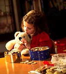 Christmas, girls, cookie cans, Teddy, feeds, Christmas places  pre-Christmas period, Christmas bakery, christmassy, child, 4-5 years, material animal,...