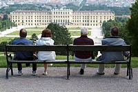 Austria, Vienna, palace Schönbrunn,  Palace park, park bank, visitors,  view from behind, no models release Series, capital, culture city, ehem.  Empe...