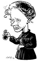 Marie Curie  Caricature of the Polish chemist Marie Curie 1867-1934, holding a round bottomed flask  Curie is known for her pioneering early work with...