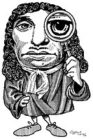 Anton van Leeuwenhoek  Caricature of the Dutch microbiologist Anton van Leeuwenhoek 1632-1723, looking through a magnifying glass to represent his dis...