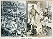 Opium den caricature, published 1878  The caricature shows Chinese labourers left eating rats in an opium den  This is contrasted with a normal Americ...
