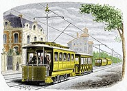 Early electric tram  Historical artwork of an early electric tram used in the USA  This tram is using overhead wires as its source of electrical power...