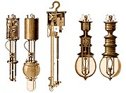 Early electric lamps, historical artwork  Three types of electric lamp are shown here  From left to right: an internal and external view of a Cance la...