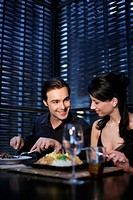 Couple having dinner at a restaurant