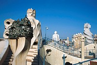 Spain, Katalonien, Barcelona,  Casa Mila, roof, chimneys,   Europe, Iberian peninsula, sight, house, buildings, construction, architecture, ´La Pedrer...