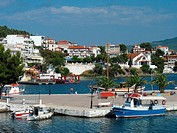 Neos Marmaras, coast place, harbor, port, boats, sea, coast, village, Mediterranean Sea, Chalkidiki, Greece, Europe,