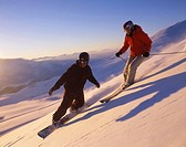 two, persons, Snowboarder, snowboard, Snowboarding, ski, skier, skiing, winter, winter sports, deep snow, snow, sports