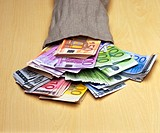 Moneybags, fallen, bills, Euro,    Series, sack, jute sack, money, means of payment, cash, appearances, Euro appearances, business, economy, currency,...