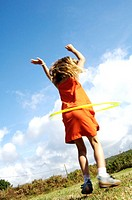 Meadow, girls, fun, Hula-Hoop,  view from behind,   Series, child, 5-7 years, long-haired, clothing, orange, summery, childhood, happily, freely, game...