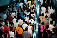 China, Shanghai, escalator,  Crowd, view from behind,  no models release, Asia, Eastern Asia, Renmin Square, driving stairway, people, people, workers...